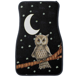 Vintage Brown Owl Necklace Crescent Moon Stars Car Floor Mat