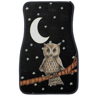 Vintage Brown Owl Necklace Crescent Moon Stars Car Floor Mat