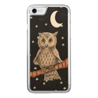 Vintage Brown Owl Necklace Crescent Moon Stars Carved iPhone 7 Case