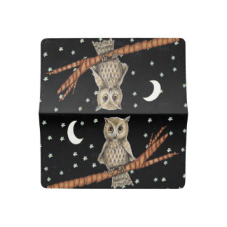 Vintage Brown Owl Necklace Crescent Moon Stars Checkbook Cover