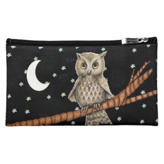 Vintage Brown Owl Necklace Crescent Moon Stars Cosmetic Bag