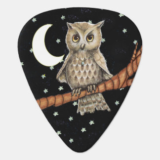 Vintage Brown Owl Necklace Crescent Moon Stars Guitar Pick