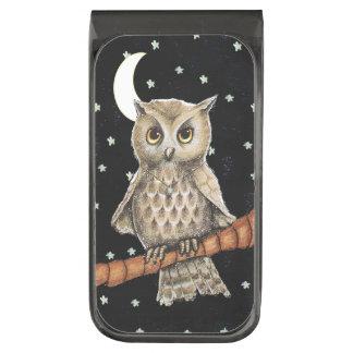 Vintage Brown Owl Necklace Crescent Moon Stars Gunmetal Finish Money Clip