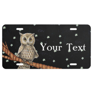 Vintage Brown Owl Necklace Crescent Moon Stars License Plate