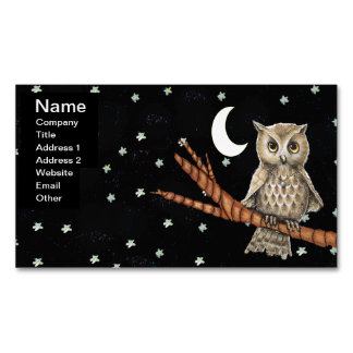 Vintage Brown Owl Necklace Crescent Moon Stars Magnetic Business Card