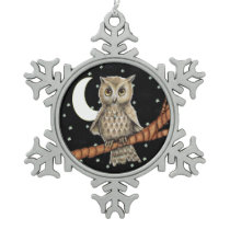 Vintage Brown Owl Necklace Crescent Moon Stars Snowflake Pewter Christmas Ornament
