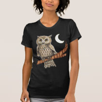 Vintage Brown Owl Necklace Crescent Moon Stars T-Shirt