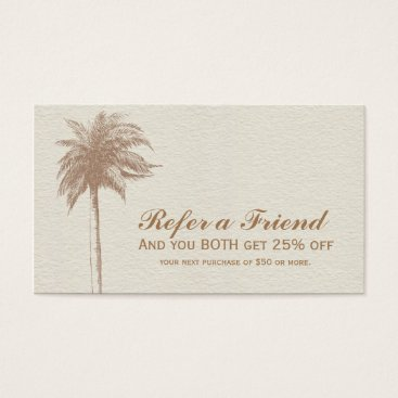 Beach Themed Vintage Brown Palm Tree Beach Refer A Friend Business Card