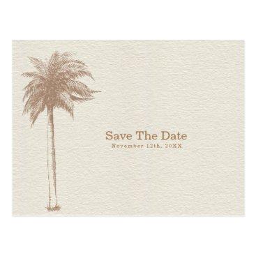 Beach Themed Vintage Brown Palm Tree Beach Save the Date Postcard