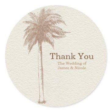 Beach Themed Vintage Brown Palm Tree Beach Wedding Favor Classic Round Sticker
