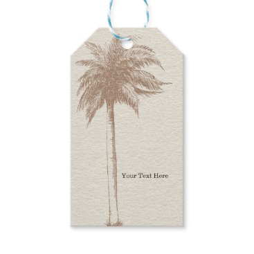 Beach Themed Vintage Brown Palm Tree Beach Wedding Favor Gift Tags
