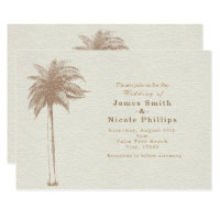 Vintage Brown Palm Tree Beach Wedding Invitations
