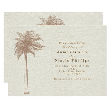 Beach Themed Vintage Brown Palm Tree Beach Wedding Invitations