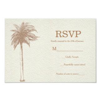 Vintage Brown Palm Tree Beach Wedding RSVP Card