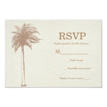Beach Themed Vintage Brown Palm Tree Beach Wedding RSVP Card