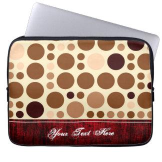 Vintage Brown Polka Dots Pattern. Dark Red Border Laptop Sleeve