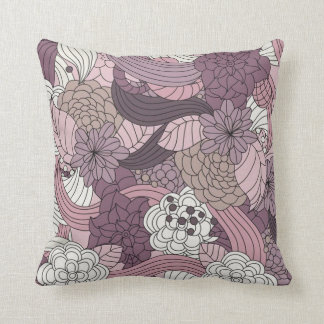 Vintage Brown púrpura blanco rosado romántico flor Almohada