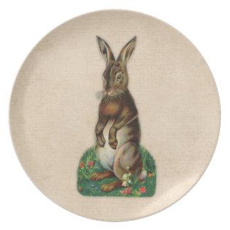 Vintage Brown Rabbit Print Melamine Plate