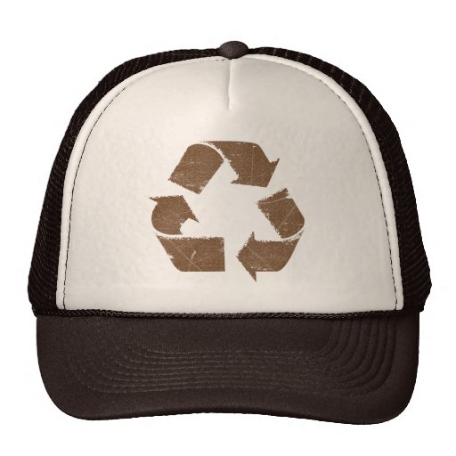 Vintage Brown Recycle Sign Trucker Hat
