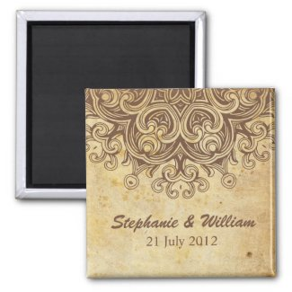 Vintage Brown Save The Date Magnet