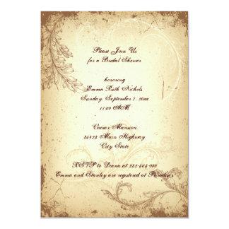 Vintage brown scroll leaf beige bridal shower card