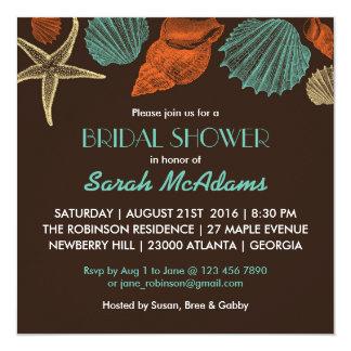 Vintage Brown Sea Shells Bridal Shower Invitation