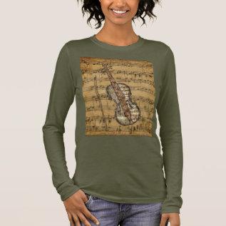 Vintage Brown Sheet Music Violin Long Sleeve T-shirt at Zazzle