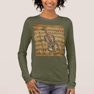 moondreamsmusic Vintage Brown Sheet Music Violin Long Sleeve T-Shirt