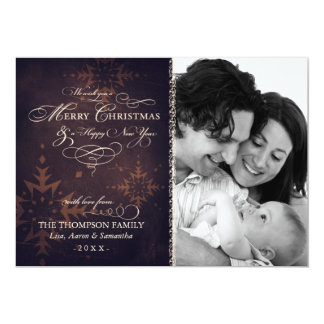 "Vintage Brown Snowflake Christmas Photo Card 5"" X 7"" Invitation Card"
