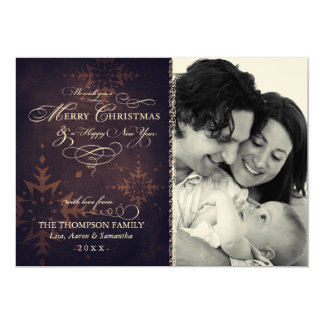 "Vintage Brown Snowflake Christmas Photo 5"" X 7"" Invitation Card"