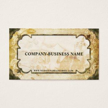 Professional Business Vintage Brown & Tan Flourish Paper Business Cards
