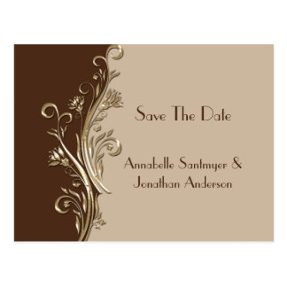 Vintage Brown Tan Gold Swirls Save The Date Postcard