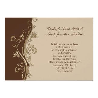 Vintage Brown Tan Gold Swirls Wedding Invitation