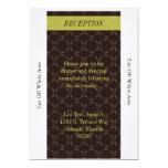 Vintage Brown/tarjeta verde de la recepción Invitación 12,7 X 17,8 Cm