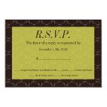 Vintage Brown/tarjeta verde de RSVP que se casa Invitación 8,9 X 12,7 Cm