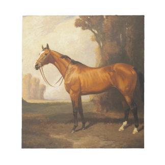 Vintage Brown Thoroughbred Horse Notepad
