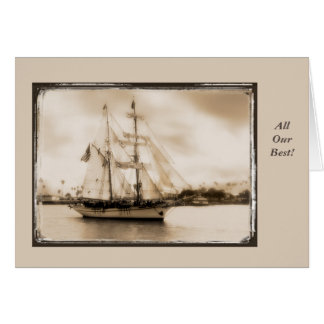 Vintage Brown-Toned Tall Ship Birtday Card