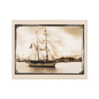 Vintage Brown-Toned Tall Ship Canvas