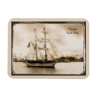 Vintage Brown-Toned Tall Ship Magnet