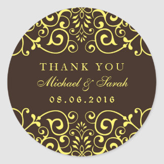 Vintage Brown Victorian Floral Thank You Stickers