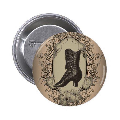 Vintage Brown Victorian  shoe  fashion Button