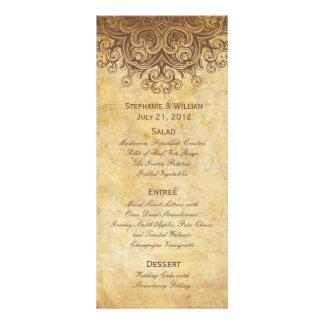 Vintage Brown Wedding Menu Rack Card