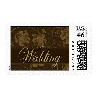 Vintage brown wedding postage