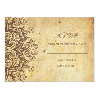 Vintage Brown Wedding RSVP Card