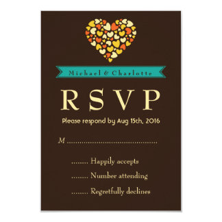 Vintage Brown Wedding RSVP Card with Small Hearts