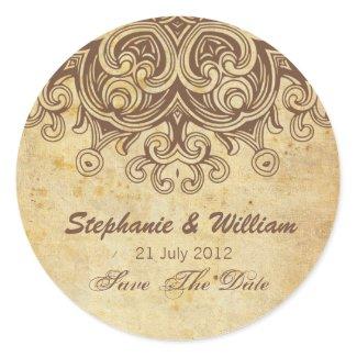 Vintage Brown Wedding Sticker