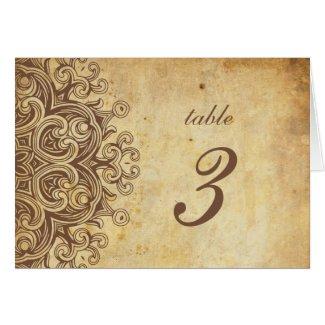 Vintage Brown Wedding Table Number Greeting Card