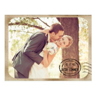 Vintage Brown Wedding Thank You Postcard