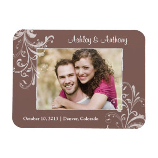 Vintage Brown White Floral Photo Wedding Magnet