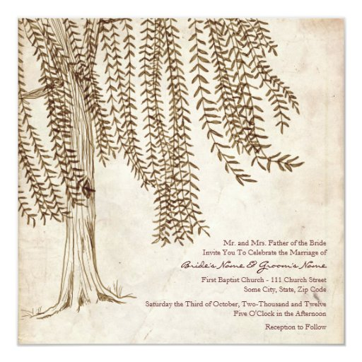 Vintage Brown Willow Tree Wedding Invitation
